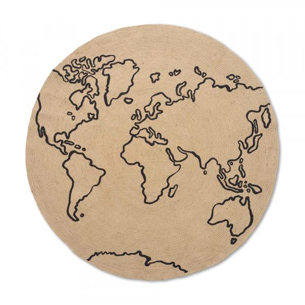 Ferm Living Juteteppich Weltkarte rund natur mit schwarz 130 cm