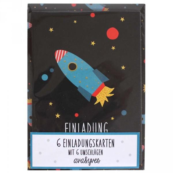 Ava & Yves Einladungskarten Set Rakete
