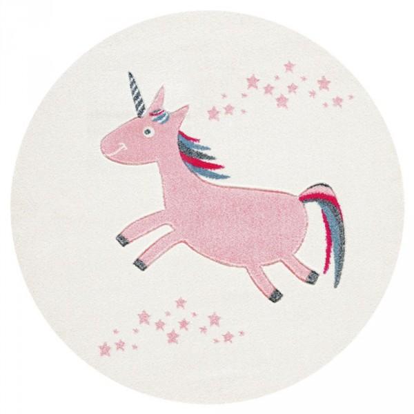 Livone Kinderteppich rund Einhorn rosa