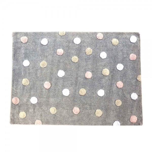 Lorena Canals Baumwollteppich waschbar farbige Punkte grau rosa