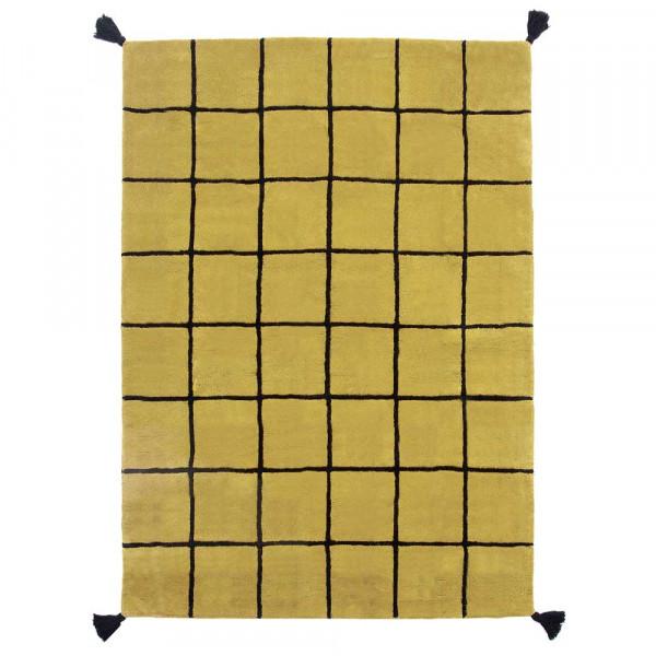 Lilipinso Teppich Rasterkaro schwarz auf senf 120 x 170 cm