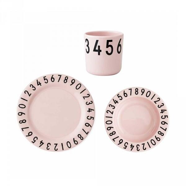 Design Letters AJ Kinder Geschirr-Set Zahlen Melamin rosa