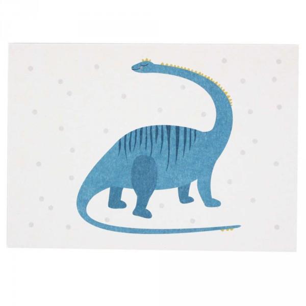 Ava & Yves Postkarte Dino blau