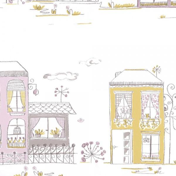 Casadeco Tapete Häuser flieder lime Jules & Julie