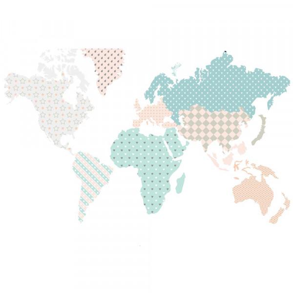 Dekornik Wandsticker Weltkarte pastell