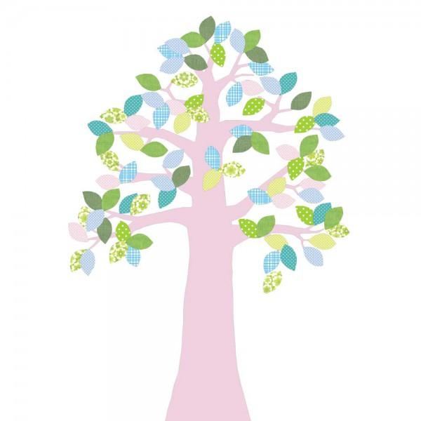 Inke Tapetenbaum 2 Stamm rosa Blätter grün blau rosa