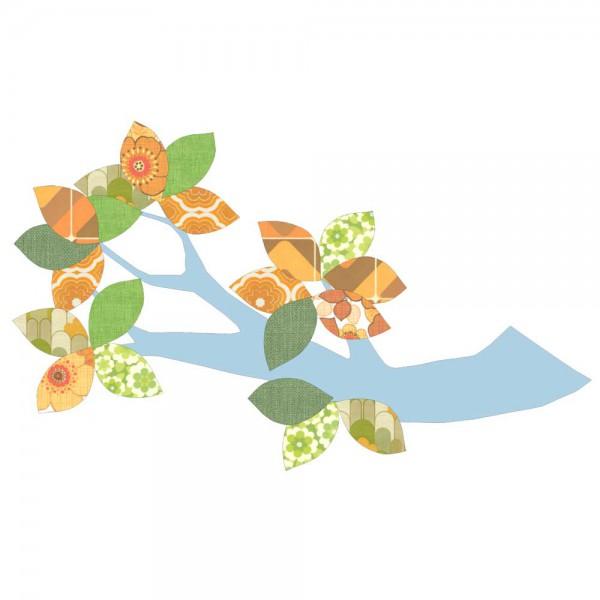 Inke Tapetenast hellblau Blätter grün orange
