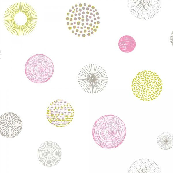 Caselio Pretty Lili Tapete Muster Kugeln rosa lime grau