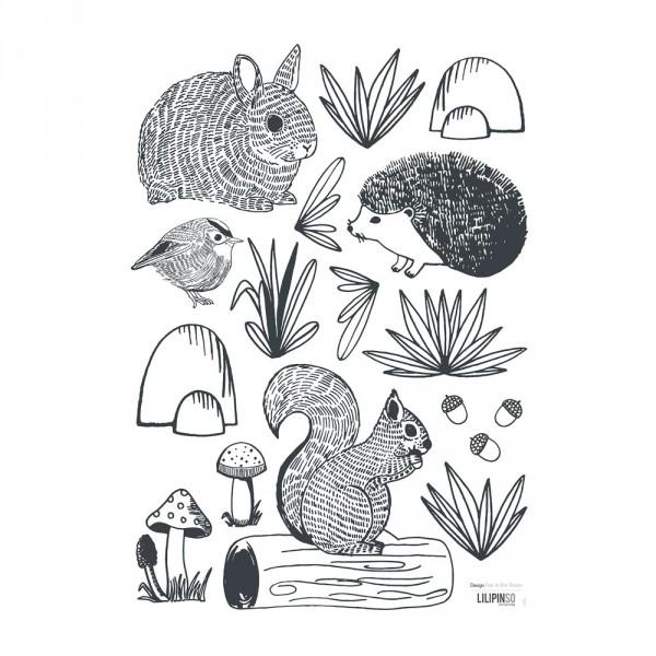 Lilipinso Wandsticker A3 Waldtiere und Pilze schwarz