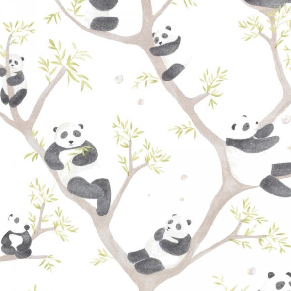 Casadeco Alice & Paul Stoff Panda Bären braun grün anthrazit