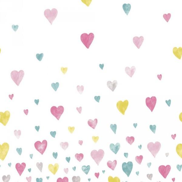 Casadeco Alice & Paul Panoramatapete Herzen türkis lime pink grau