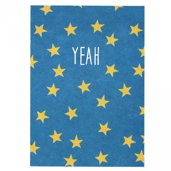 Ava & Yves Postkarte Yeah blau