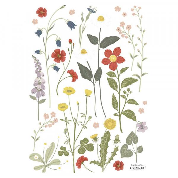 Lilipinso Wandsticker A3 Sommerblumen 1 grau pastell