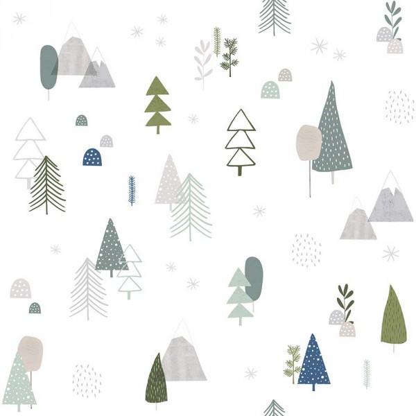 Lilipinso Vlies Tapete Bäume weiß grau grün