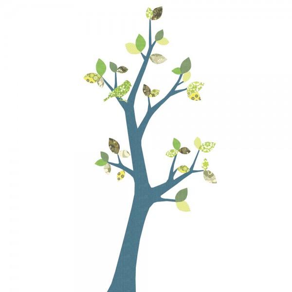 Inke Tapetenbaum 3 Stamm dunkelblau Blätter grün