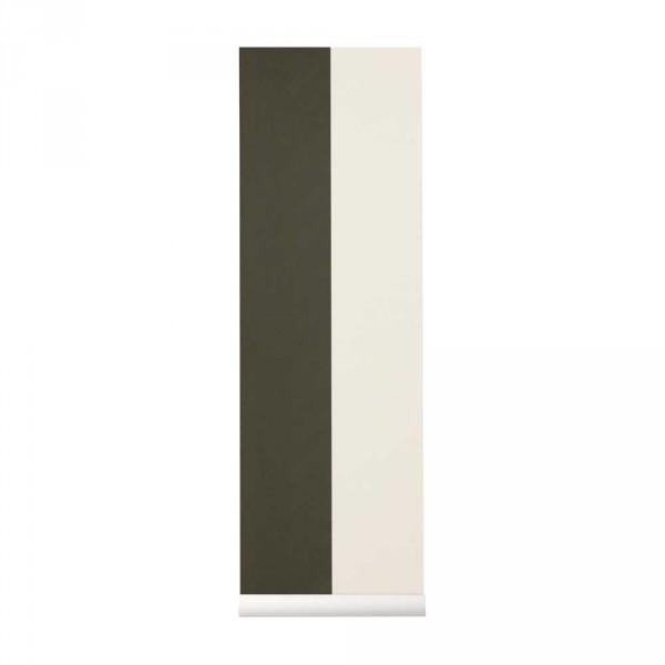Ferm Living Tapete breite Streifen grün fast weiss