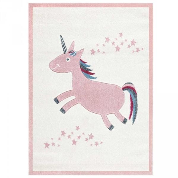 Livone Kinderteppich Einhorn rosa creme