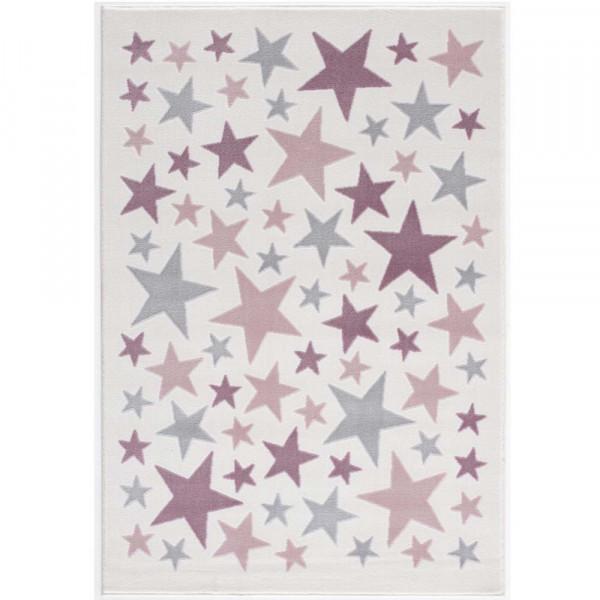 Livone Kinderteppich Stella Sterne rosa grau