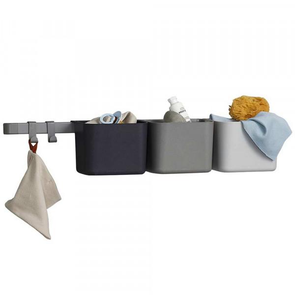 Leander 3 Aufbewahrungselemente / 1 lange Schiene grau