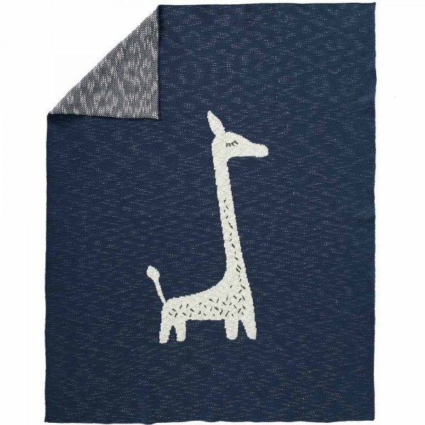 Fresk Strickdecke Giraffe blau