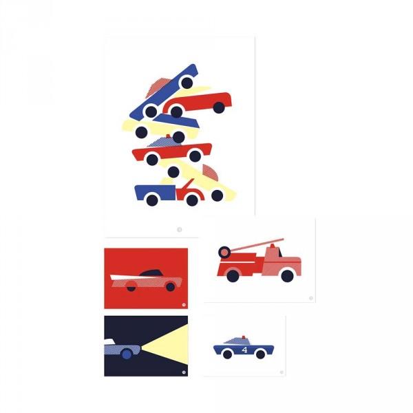 Lilipinso Poster-Set Fahrzeuge rot blau gelb