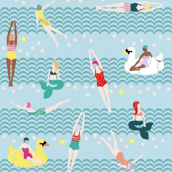 Rice Wandbild Lovely Ladies bathing hellblau