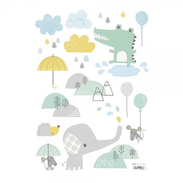 Lilipinso Wandsticker A3 Tiere im Regen