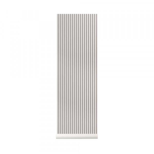 Ferm Living Tapete dünne Streifen grau fast weiss