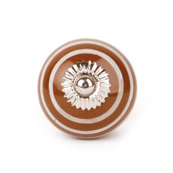 Knaufmanufaktur Möbelknauf Keramik braun Streifen weiss
