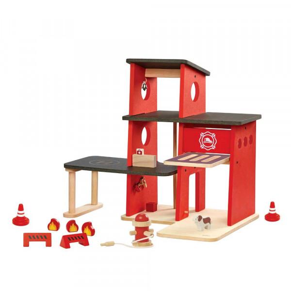 Plan Toys Spielzeug Feuerwache Holz rot