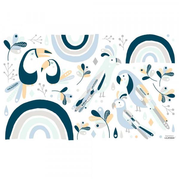 Lilipinso Wandsticker M Vögel mit Regenbogen blau pastell