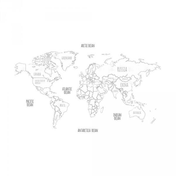 Lilipinso Vlies Wandbild Weltkarte in grau auf weiß