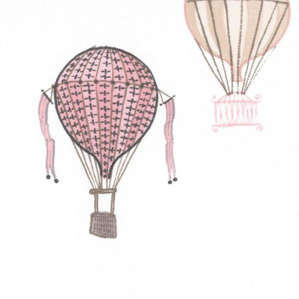 Casadeco Stoff Heissluftballons grau rosa Jules & Julie