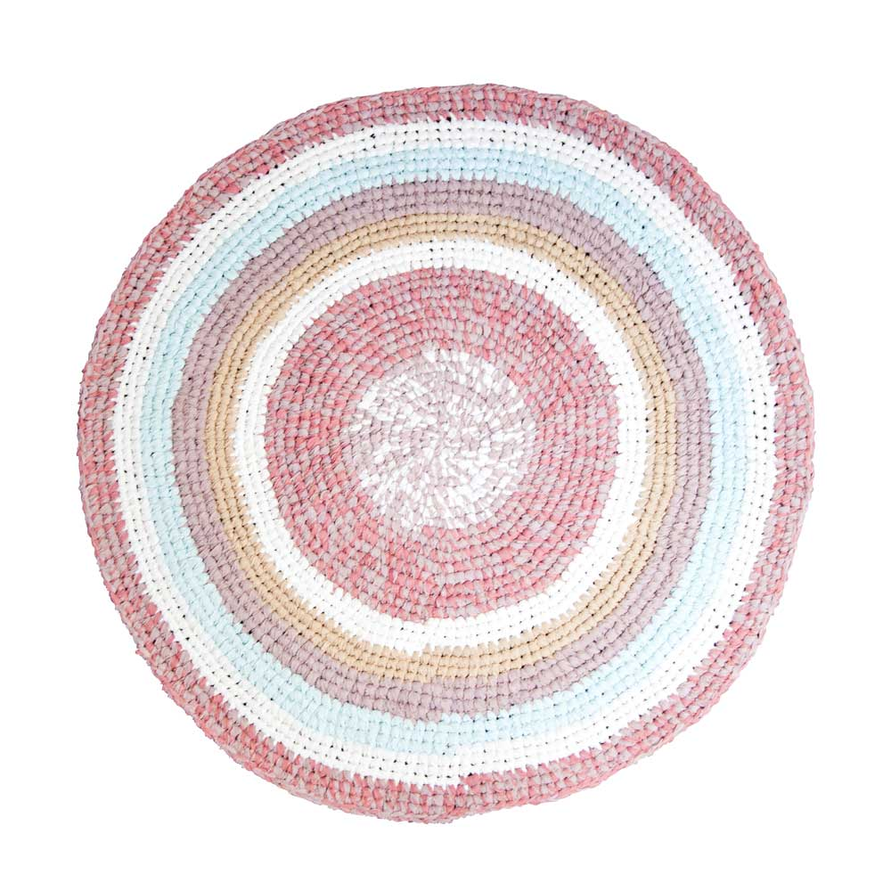 Sebra Häkel Teppich rund 120 cm puderrosa pastell