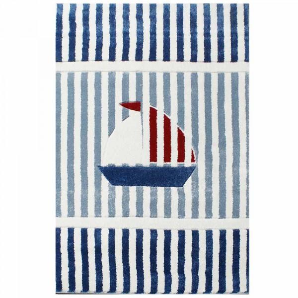 Livone Kinderteppich Segelboot blau rot weiss