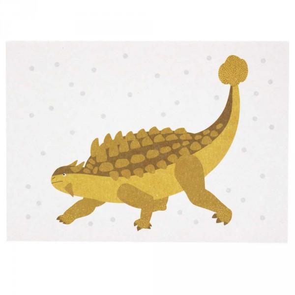 Ava & Yves Postkarte Dino gelb