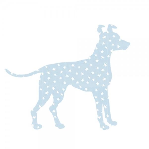 Inke Tapetentier Hund hellblau Sterne