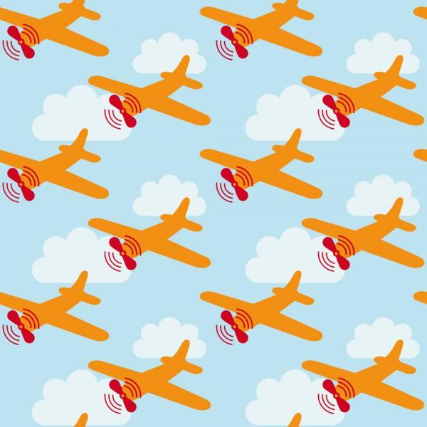 Lavmi Tapete Flugzeuge orange blau weiß