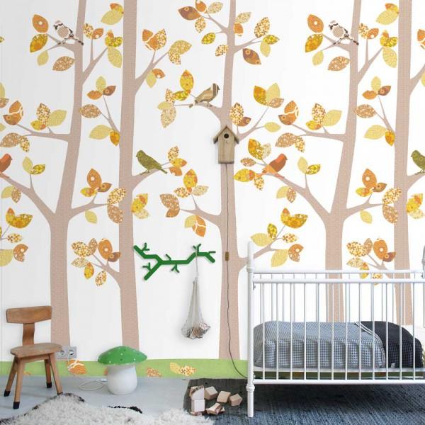 Inke Tapeten Wandbild Wald & Vögel grau ocker gelb