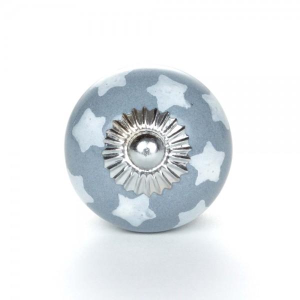 Knaufmanufaktur Möbelknopf Keramik grau Sterne
