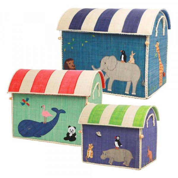 Rice Spielzeugkorb-Set Tiere