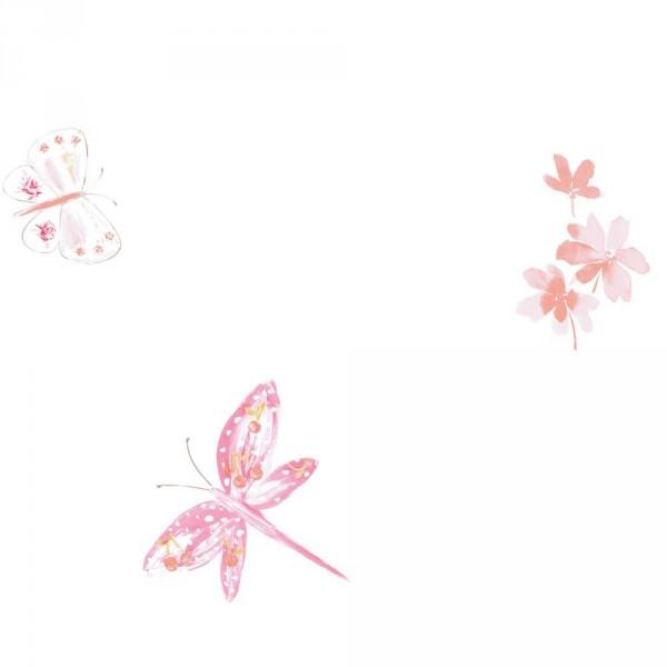 Caselio Ohlala Tapete Schmetterlinge & Libellen koralle gelb orange