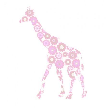 Inke Tapetentier Giraffe Blumen rosa