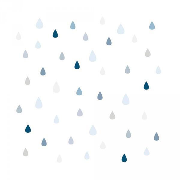 Lilipinso Vlies Tapete Tropfen grau blau auf weiss