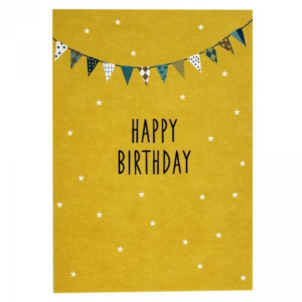 Ava & Yves Postkarte Geburtstag Happy Birthday