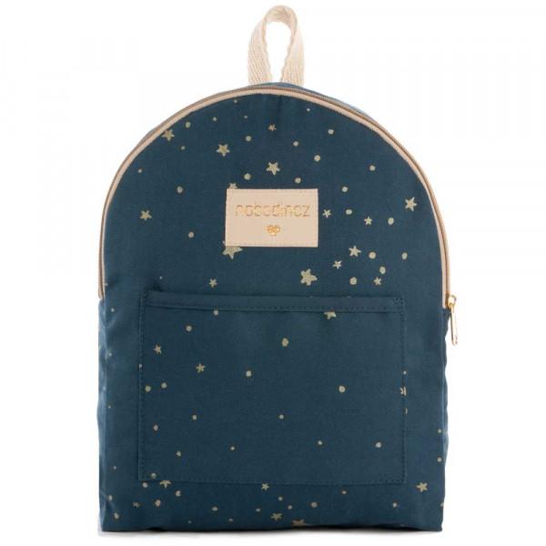 Nobodinoz Rucksack klein goldene Sterne blau