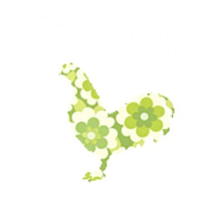 Inke Tapetentier Hahn Blumen grün