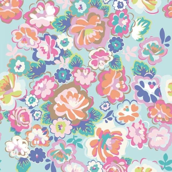 Rice Wandbild English Country Blumen mint