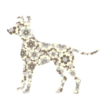 Inke Tapetentier Hund Blumen braun
