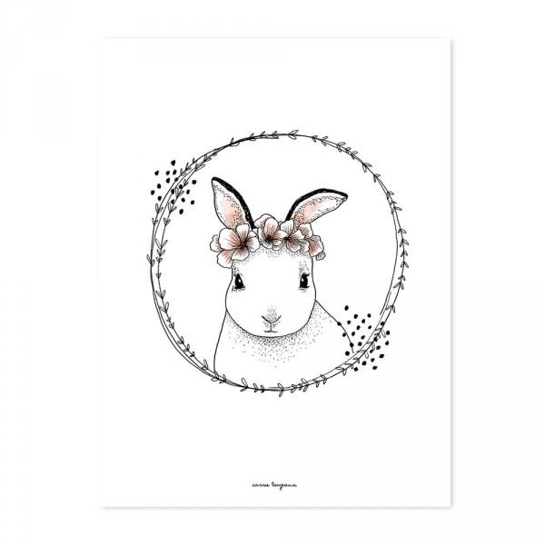 Lilipinso Poster Häschen mit Blüten weiß rosa